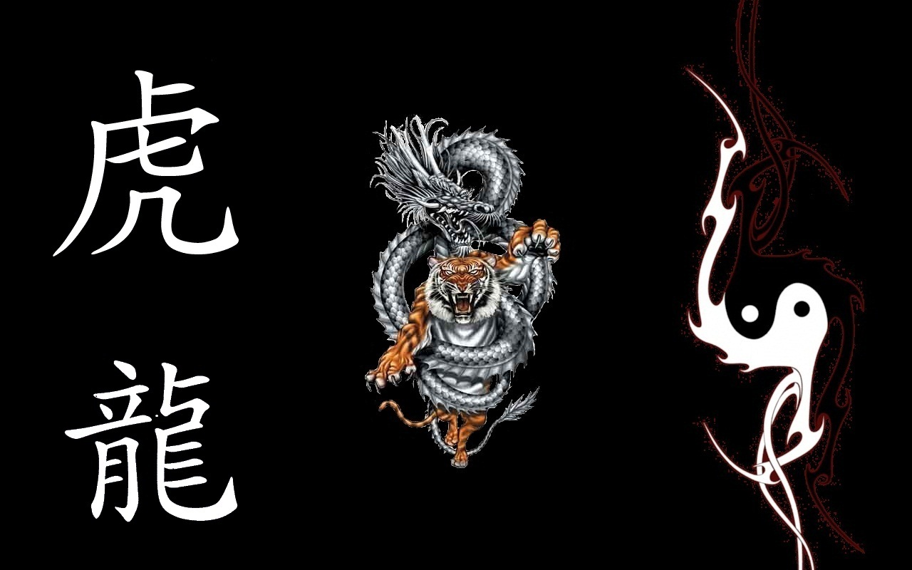 fantasy  1   general  1 Yin Yang Dragon Tiger Wallpaper