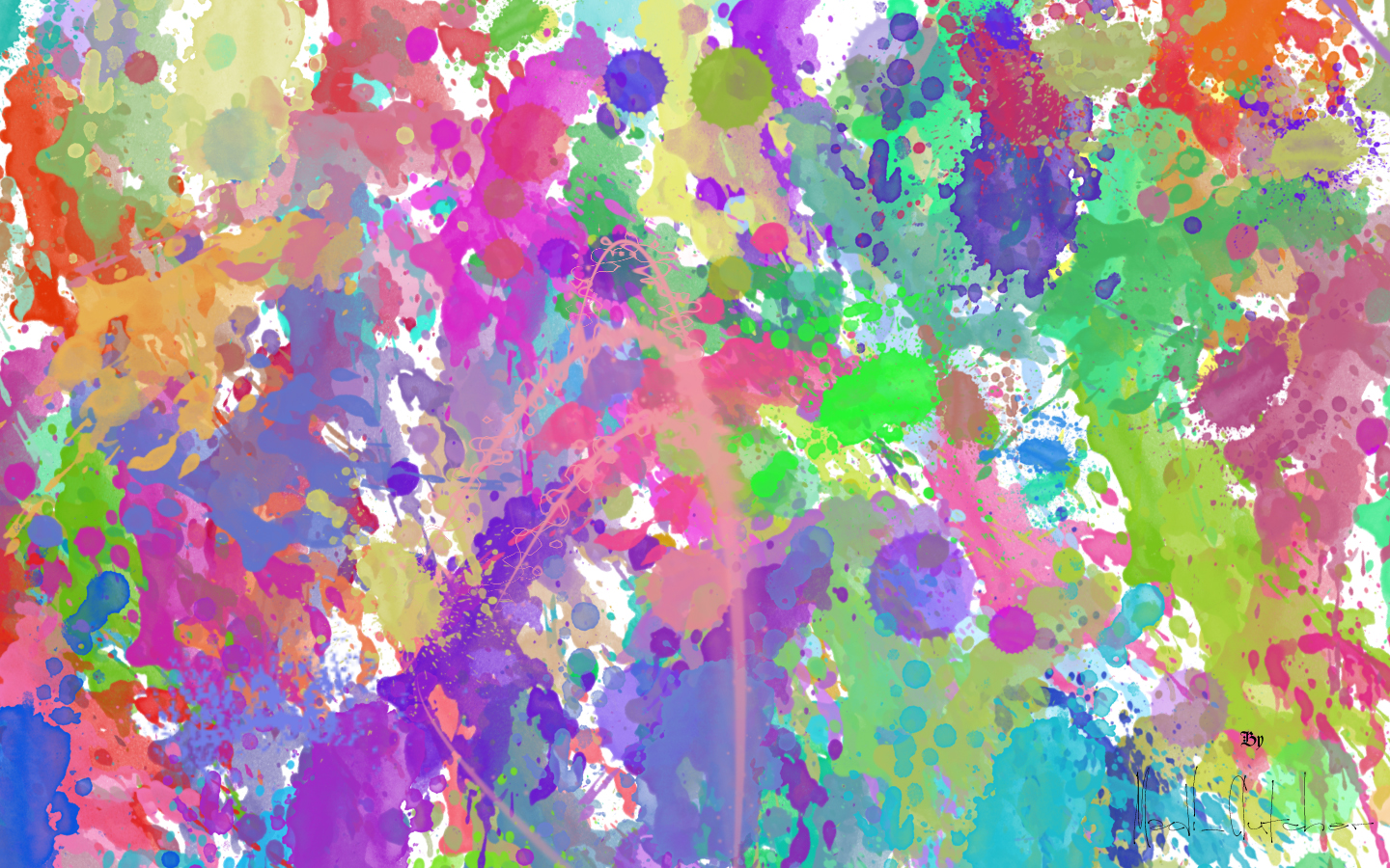 Pink And Green Paint Splotches