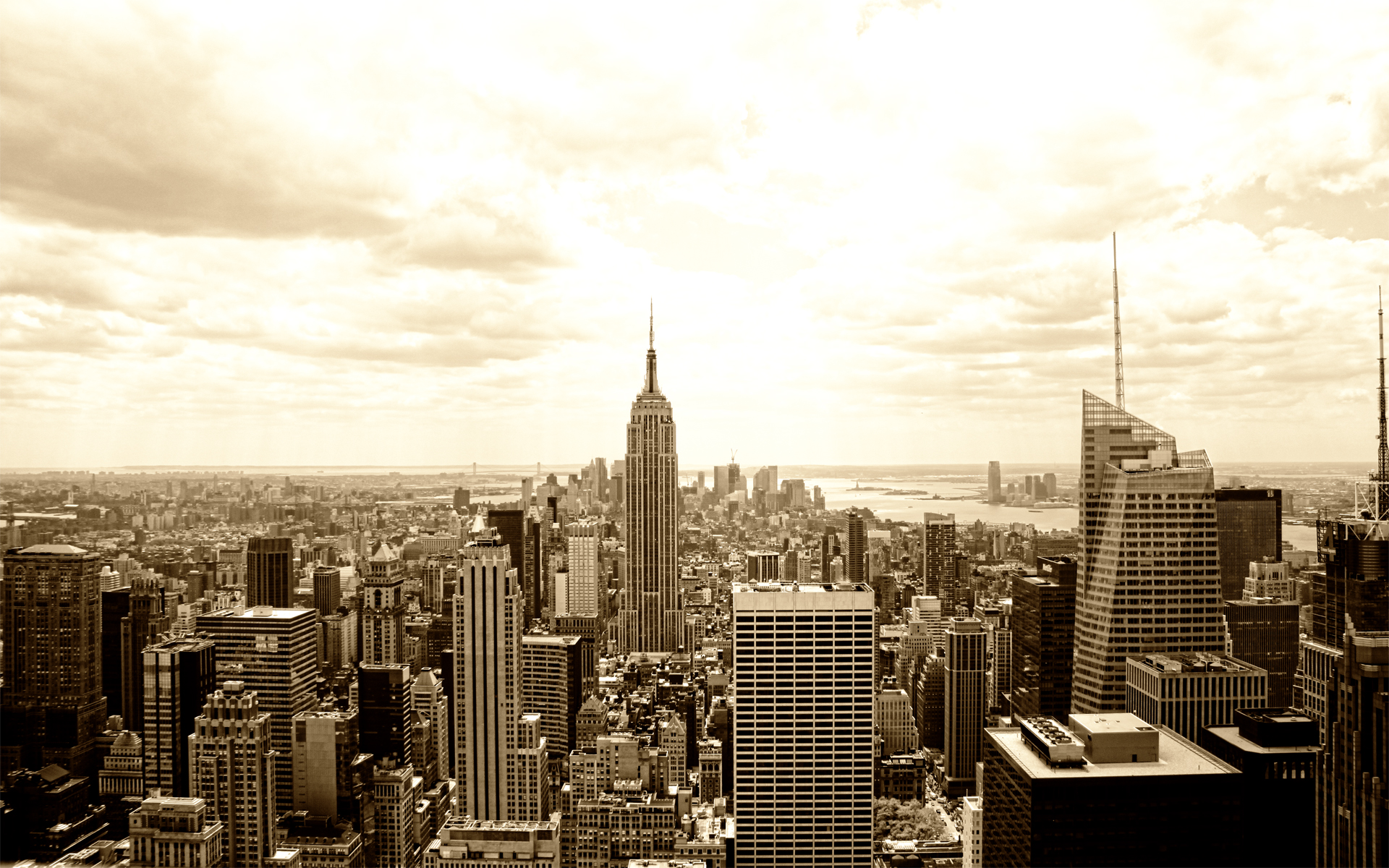 Nyc Manhattan Sepia By Cd Desktop Wallpaper
