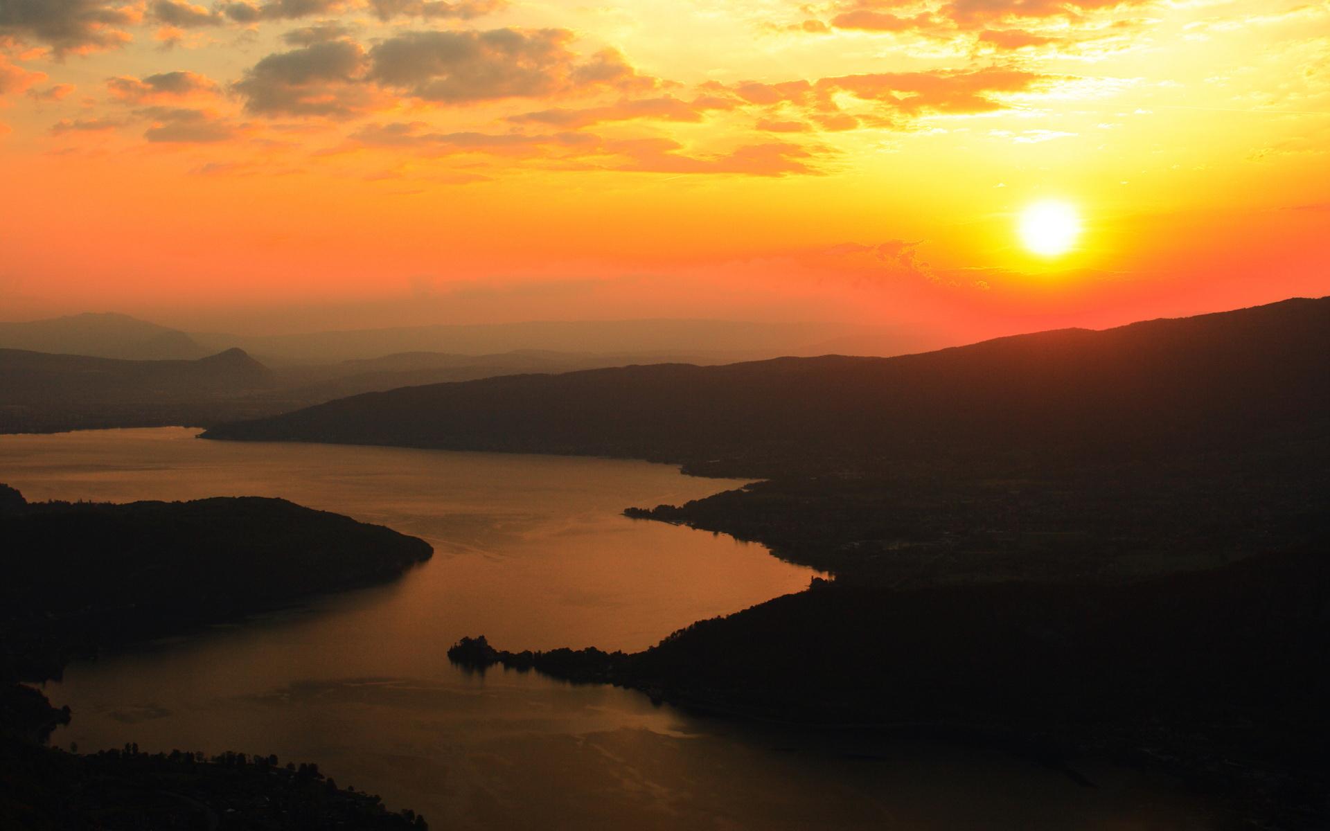 природа облака солнце река бесплатно