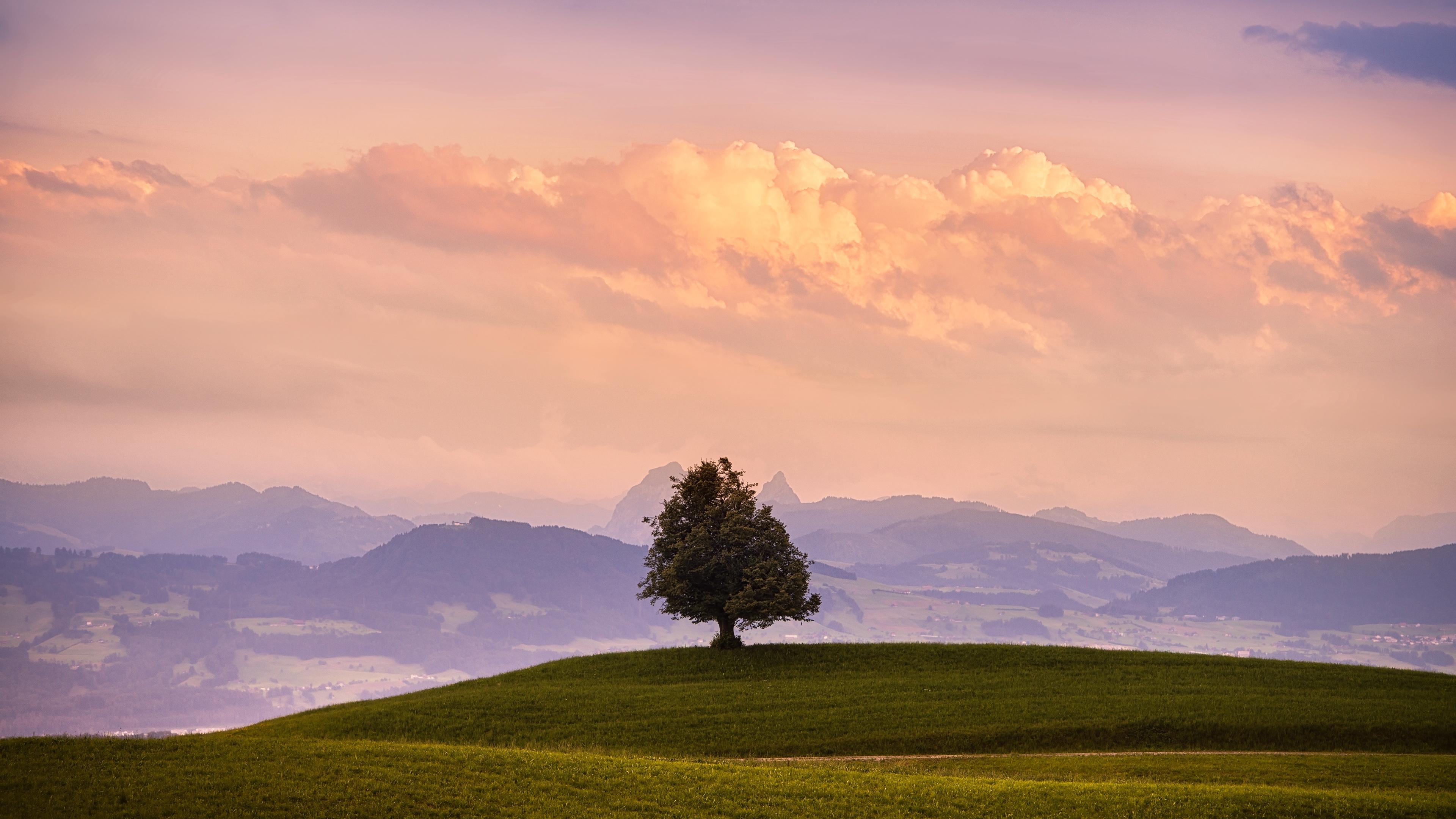 Горы, озеро, поле, звезды, облака скачать