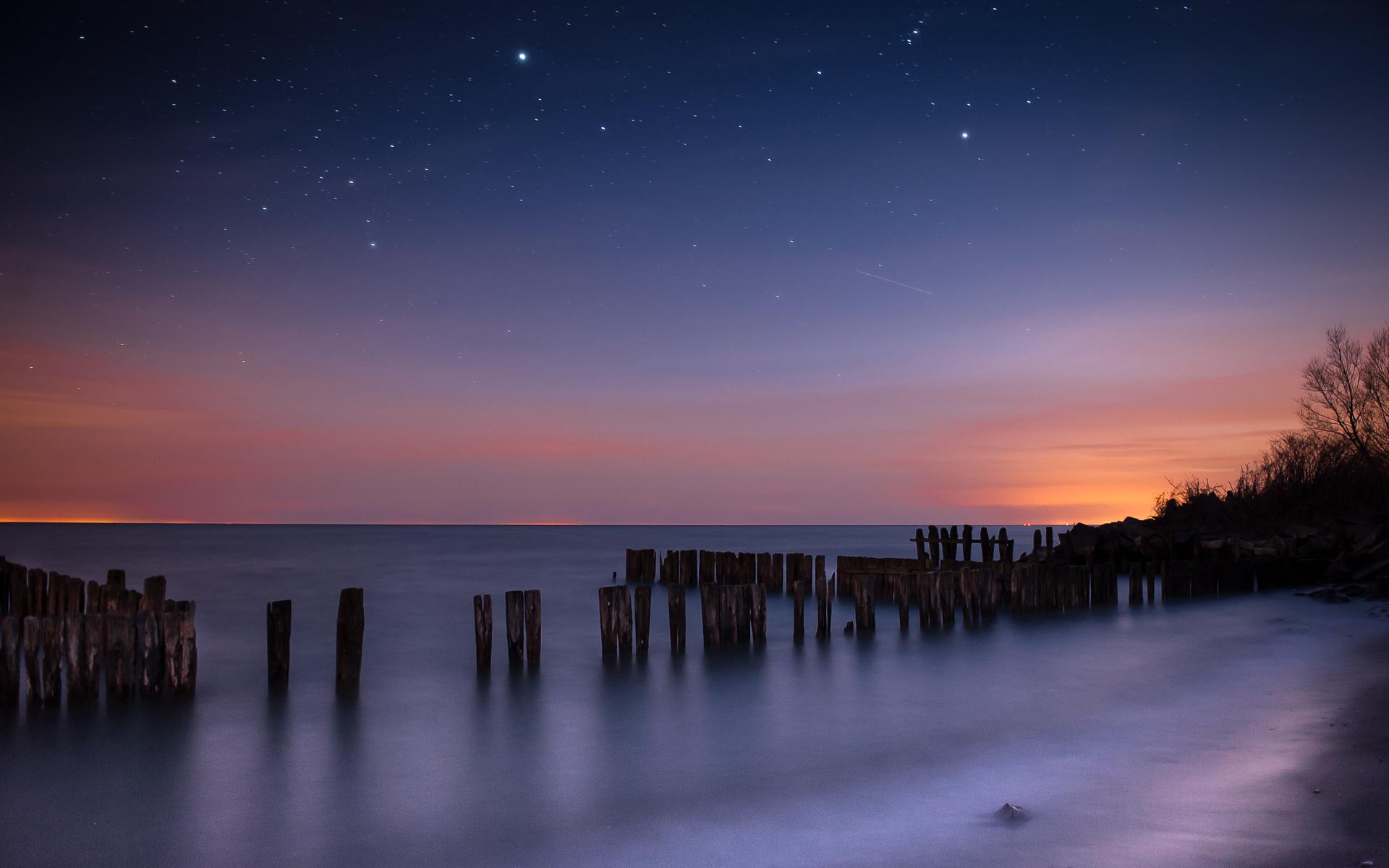 Фото ночь море