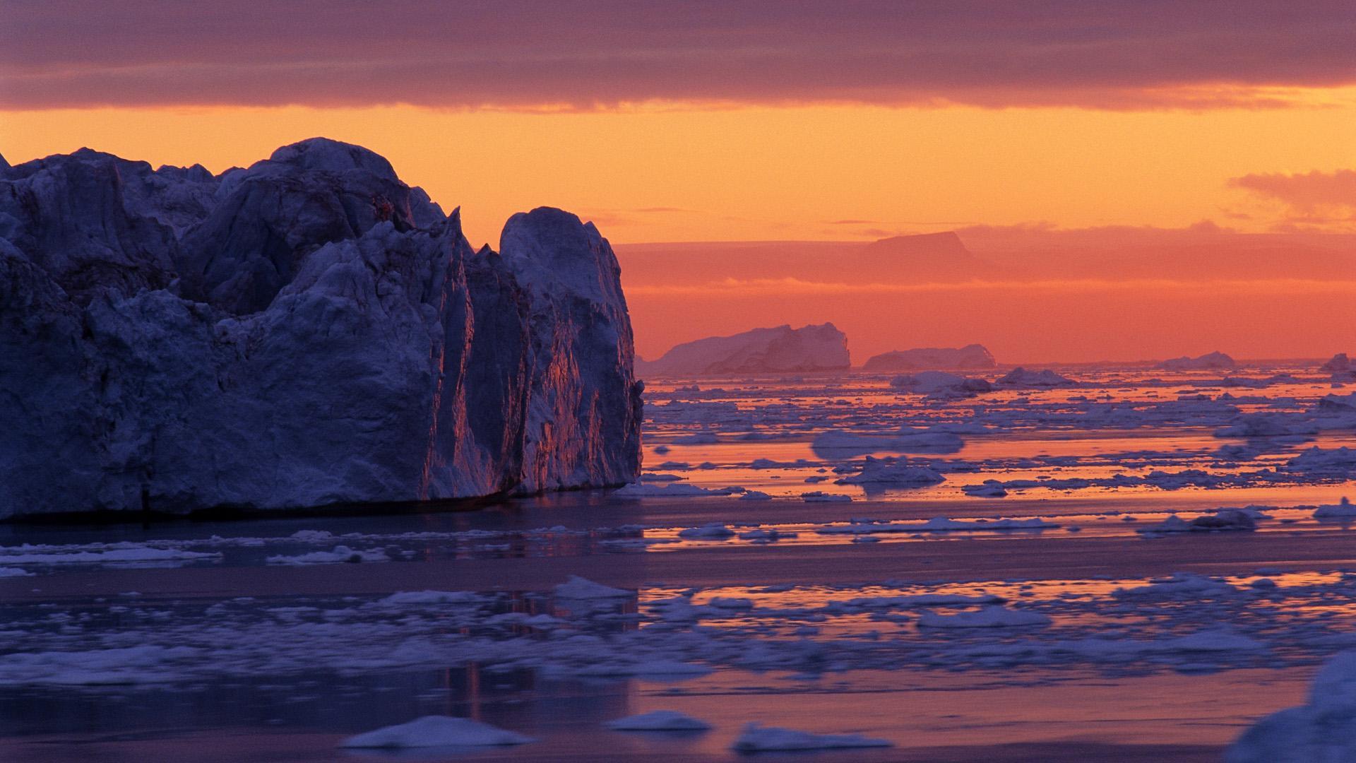 Лёд закат ледник смотреть