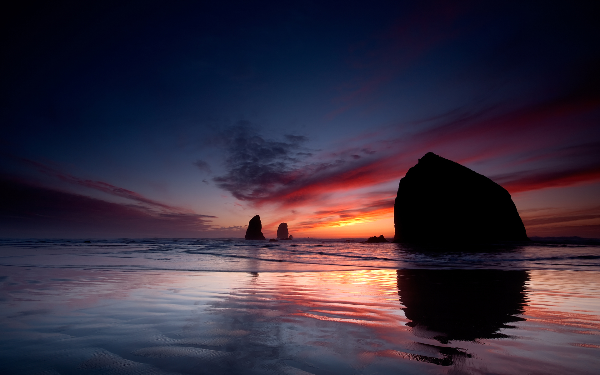 Moonset - Cannon Beach, OR.
