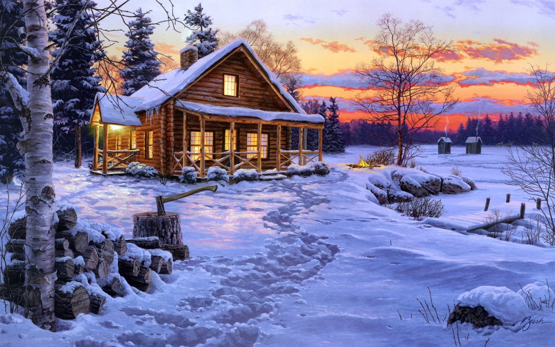 Winter Wallpaper Paintings For Computer