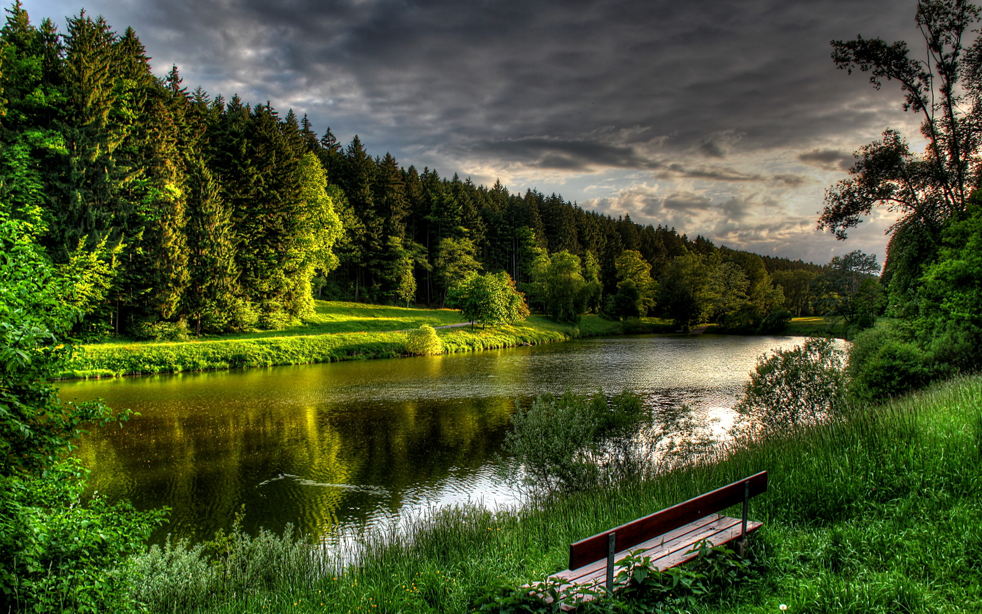 Abends Am See Evening At The Lake By Hans Rohm Desktop