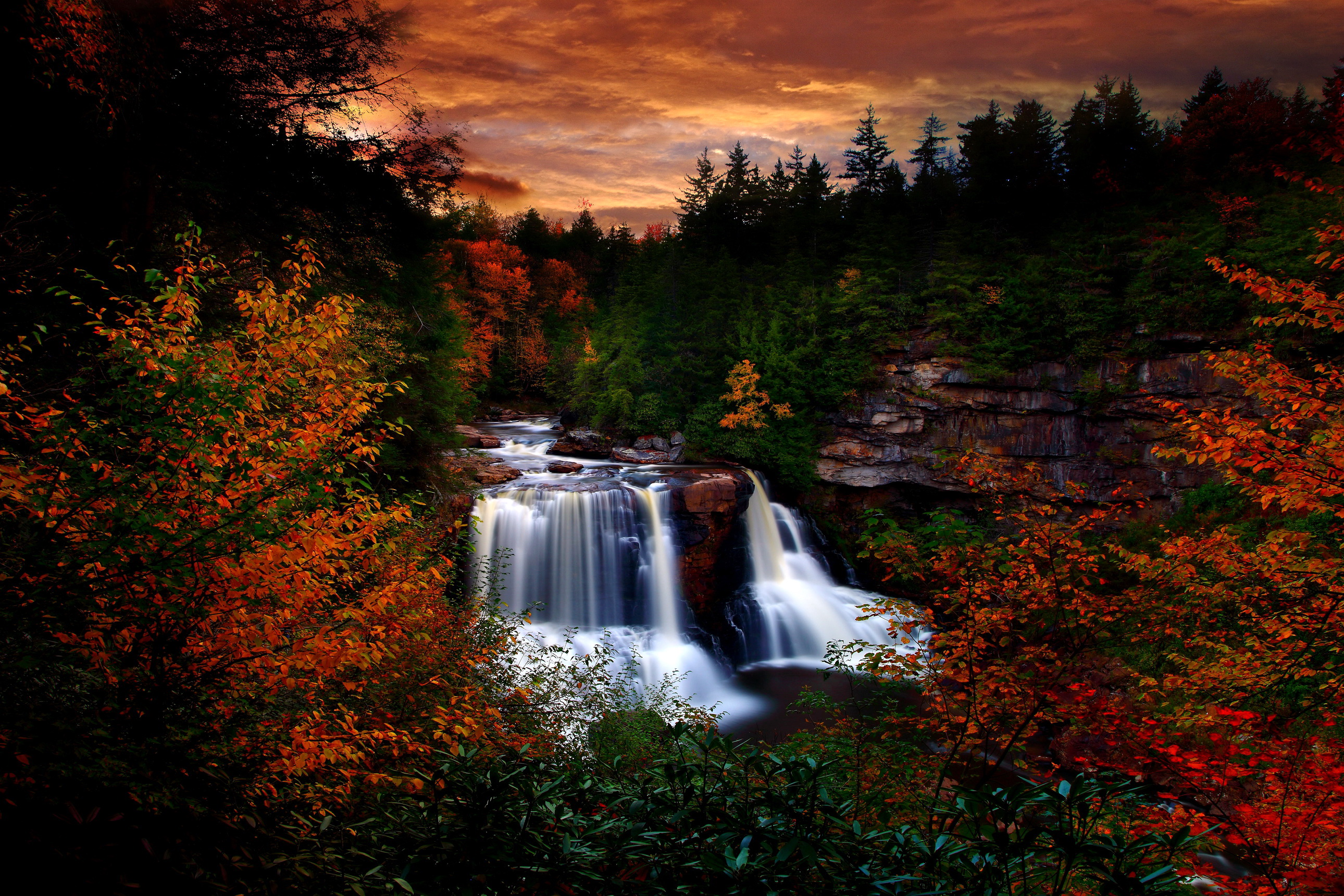 Autumn waterfall at blackwater falls state park west for West fall