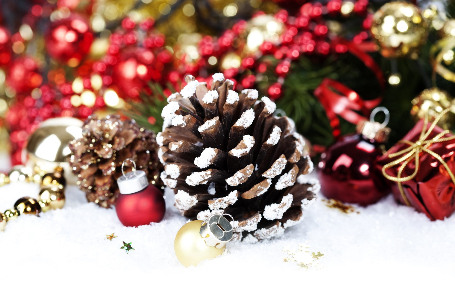Christmas decoration with pine cone by copyright natalia for Pinecone wallpaper