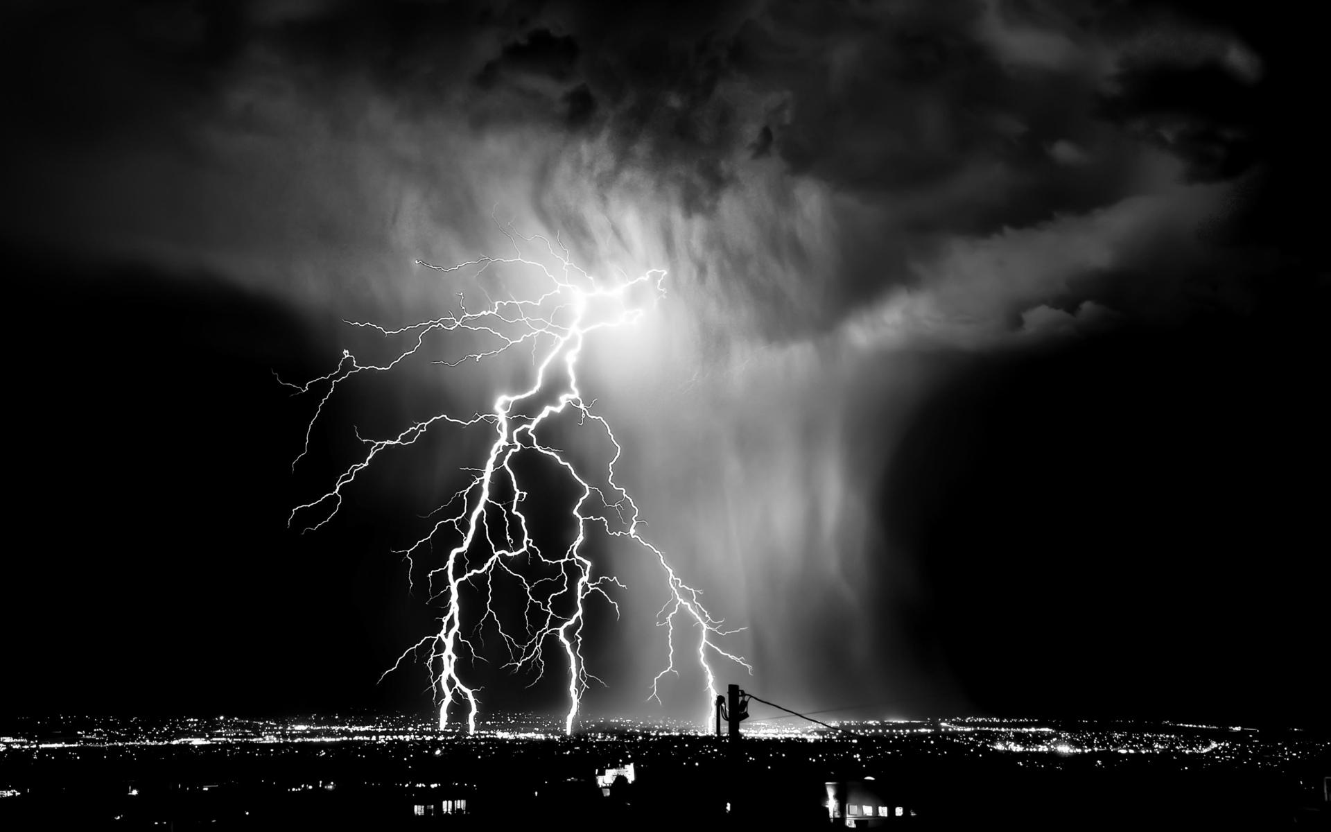 Black And White Lightning Storm