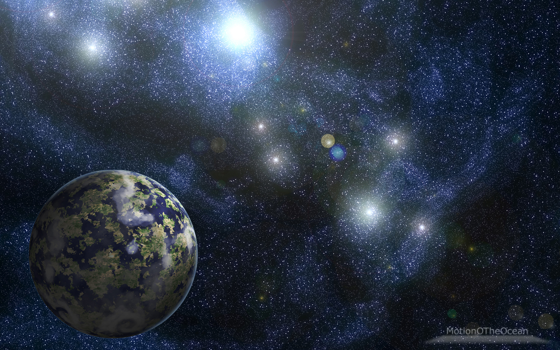 Planet&ampCluster By MotionOTheOcean  Desktop Wallpaper